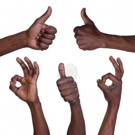 Photo for Thumbs up and okay gestures isolated on white background - Royalty Free Image