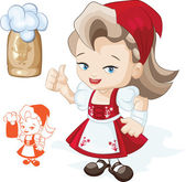 Cute blond young beergirl in red dirndl is showing thumbs-up sig