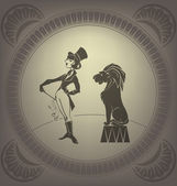 Young circus artist perform tamer trick Flapper style Art Deco