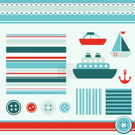 Sea theme elements for scrapbooking