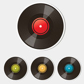 Set of vinyl records isolated on white