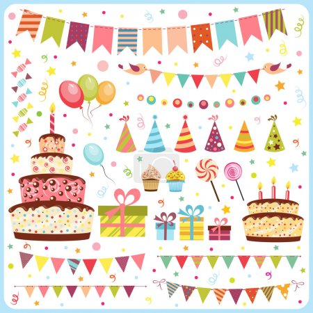 Photo for Set of birthday party elements - Royalty Free Image