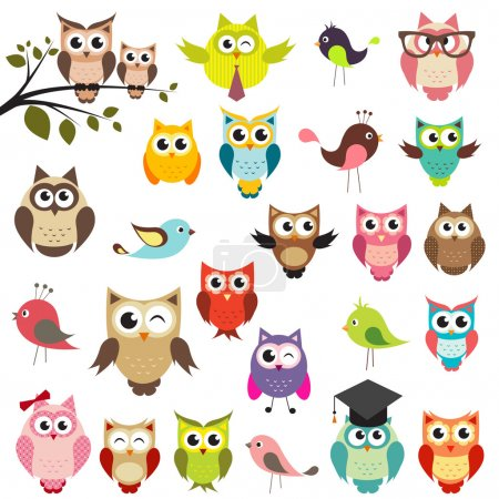 Illustration for Set of owls - Royalty Free Image