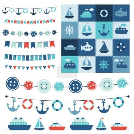 Illustration pour Guirlande de mer et patchwork - image libre de droit