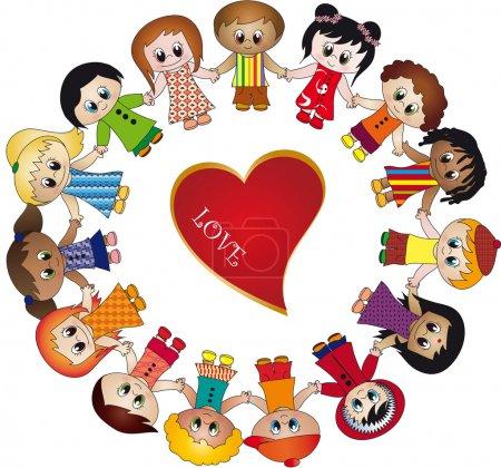 Photo pour Les enfants adorent illustration - image libre de droit