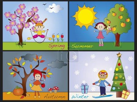 Photo pour Illustration de quatre saisons avec des enfants - image libre de droit