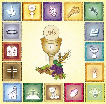 Photo pour Illustration de la carte de la religion avec icônes - image libre de droit