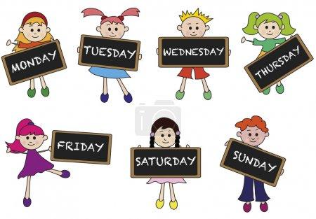 Photo pour Illustration des jours de la semaine avec les enfants - image libre de droit