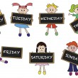 Illustration of days of week with children...