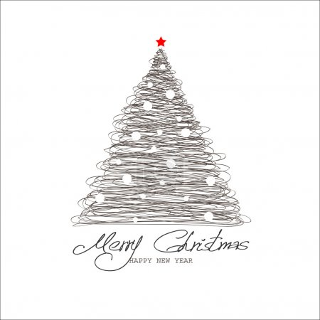 Illustration for Christmas and New Year. Vector greeting card - Royalty Free Image