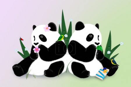 Greeting card with two pandas