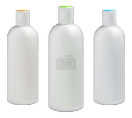 Illustration pour Bouteilles en plastique blanc pour crèmes cosmétiques, lotions, shampooing et gels avec bouchons colorés - image libre de droit