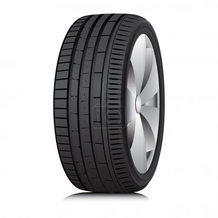 Illustration for Matte Black tubeless low profile tyre on the shiny silver drive, isolated on white background. - Royalty Free Image