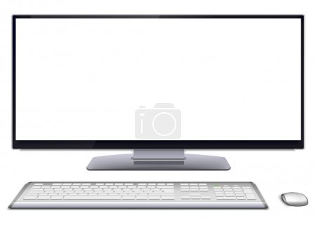 Illustration for Modern monoblock desktop computer with blank white wide screen display, silver wireless mouse and keyboard. Vector illustration, isolated on white background. - Royalty Free Image