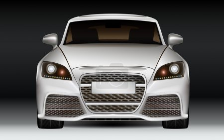 Illustration for Silver modern luxury sports car, front view. Dark Background. - Royalty Free Image