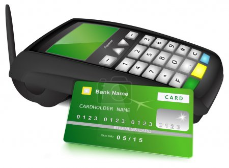 Illustration for Modern wireless POS terminal and bank card with green design near it. Vector illustration, isolated on white background. - Royalty Free Image