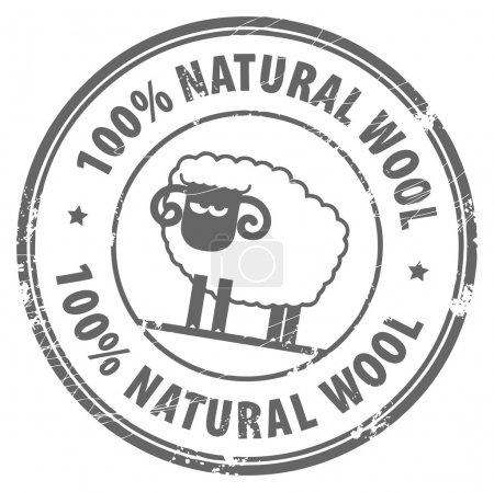 Illustration for Abstract grunge rubber stamp with small sheep and the words 100% Natural Wool written inside - Royalty Free Image