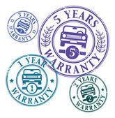 Abstract grunge rubber stamps set with car and the words 1 2 3 and 5 years warranty written inside the stamp