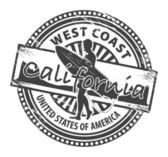 Grunge rubber stamp with name of California