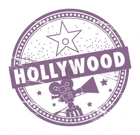 Photo for Grunge rubber stamp with the name of Hollywood written inside the stamp - Royalty Free Image
