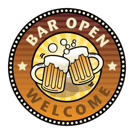 Illustration pour Étiquette avec les tasses à bière et barre de texte Ouvert écrit à l'intérieur - image libre de droit