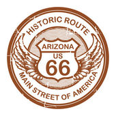 Abstract grunge rubber stamp with the text Historic Route 66 Arizona