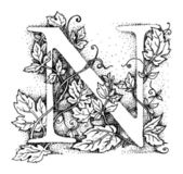 Initial - letter N / vintage illustrations