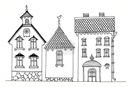 Illustration pour Dessin animé maison de dessin à la main - image libre de droit