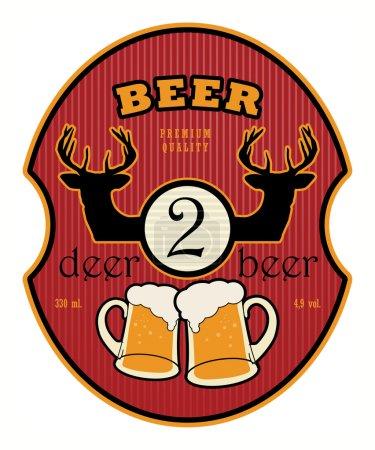 Illustration pour Étiquette avec chopes à bière et la bière de cerf texte 2 écrit à l'intérieur - image libre de droit