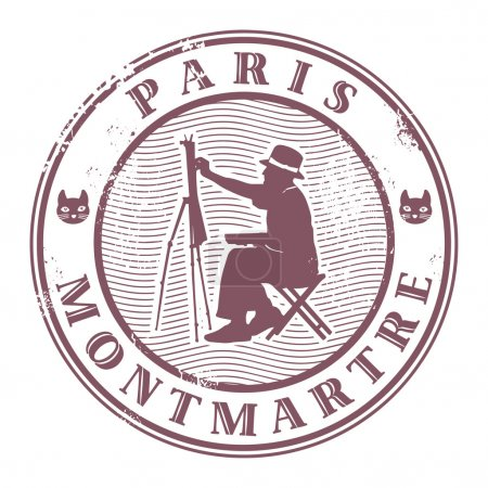 Illustration for Grunge rubber stamp with painter silhouette and the word Paris, Montmartre inside - Royalty Free Image