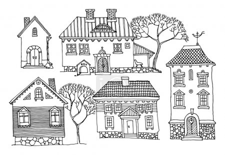 Illustration for Cartoon hand drawing houses - Royalty Free Image