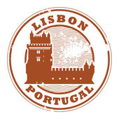 Grunge rubber stamp with Belem Tower and the words Lisbon Portugal inside