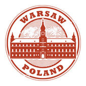 Grunge rubber stamp with words Warsaw Poland inside