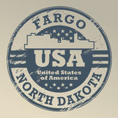 Grunge rubber stamp with name of North Dakota Fargo