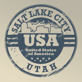 Grunge rubber stamp with name of Utah Salt Lake City