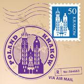 Grunge rubber stamp set with words Krakow Poland inside vector illustration