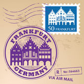Grunge rubber stamp set with words Frankfurt Germany inside