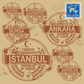 Grunge rubber stamp set with names of Turkey cities