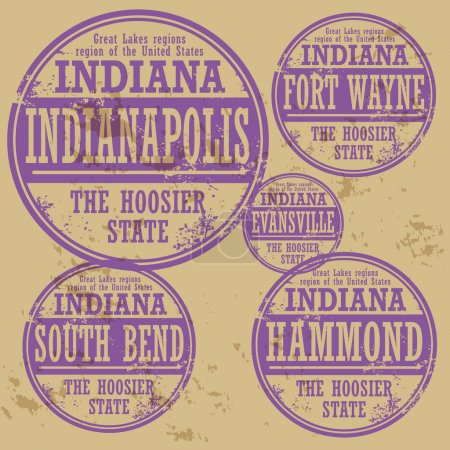 Grunge rubber stamp set with names of Indiana cities