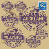 Grunge rubber stamp of New Zealand cities