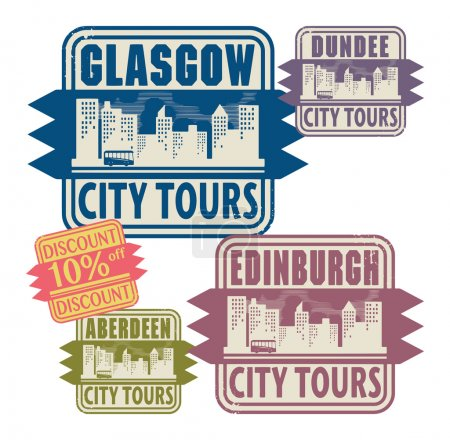 Stamp set with names of Scotland cities