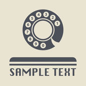 Vintage telephone disk icon or sign