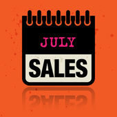 Calendar label with the words July Sales written inside vector illustration