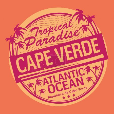 Grunge rubber stamp or label with the name of Cape Verde