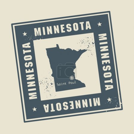Stamp with name and map of Minnesota