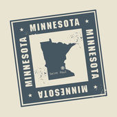 Grunge rubber stamp with name and map of Minnesota USA
