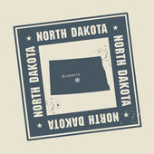 Grunge rubber stamp with name and map of North Dakota USA