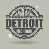 Stamp or label with text Detroit Michigan inside