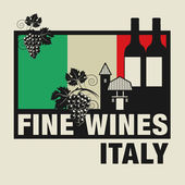 Stamp or label with words Fine Wines Italy