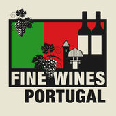 Stamp or label with words Fine Wines Portugal